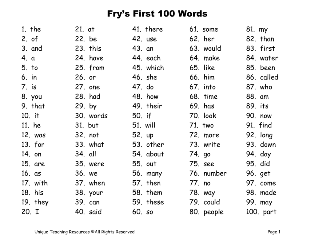 Fry S First 100 Words