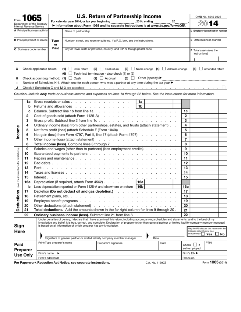 form 1065 u.s. return of partnership income  US Return of Partnership Income