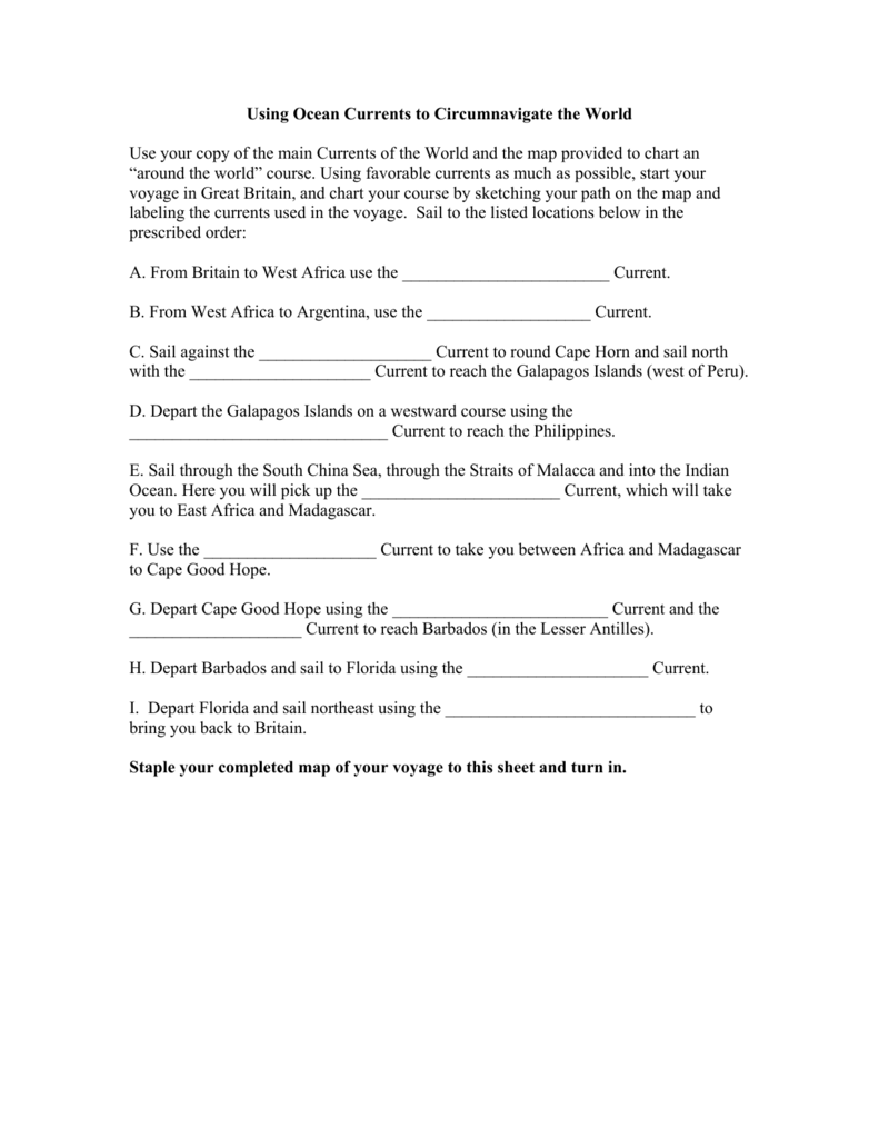 Ocean Currents And Climate Worksheet