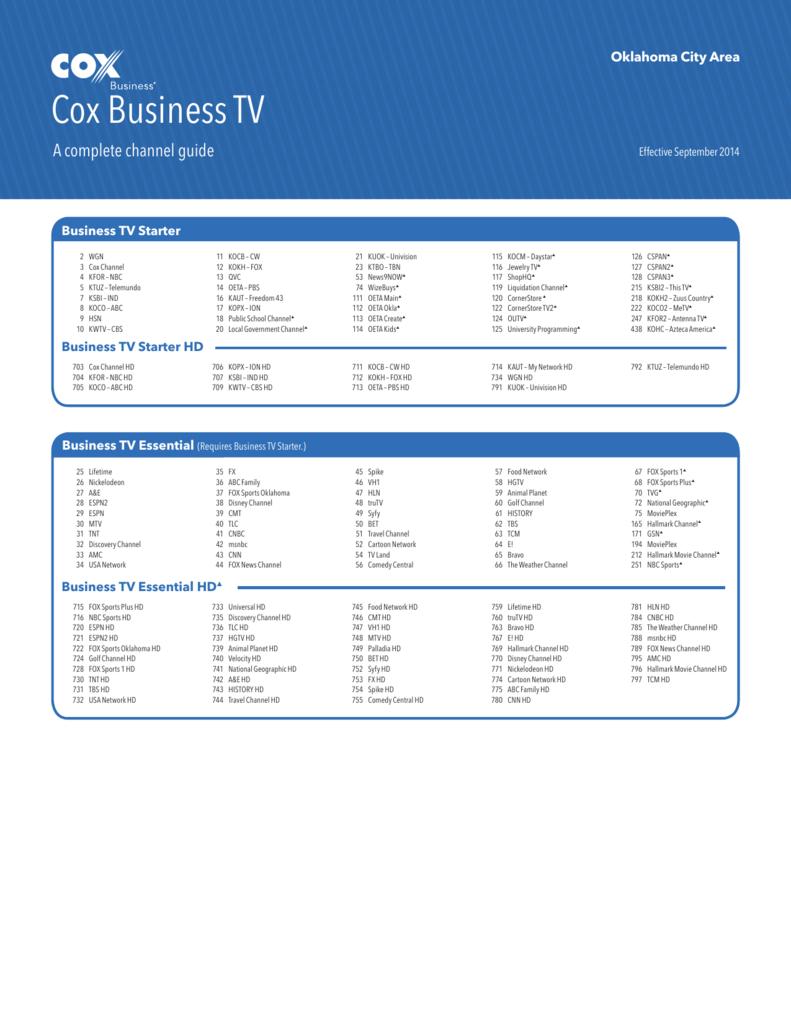 Oklahoma City Channel Lineup