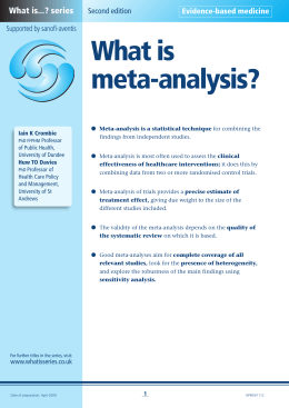 What is meta-analysis? - Medical Sciences Division