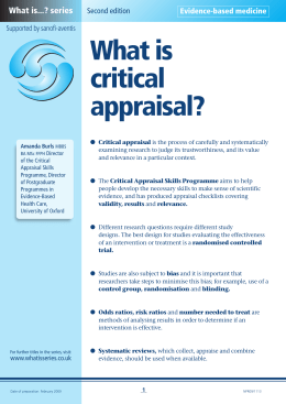 What is critical appraisal? - Medical Sciences Division, Oxford