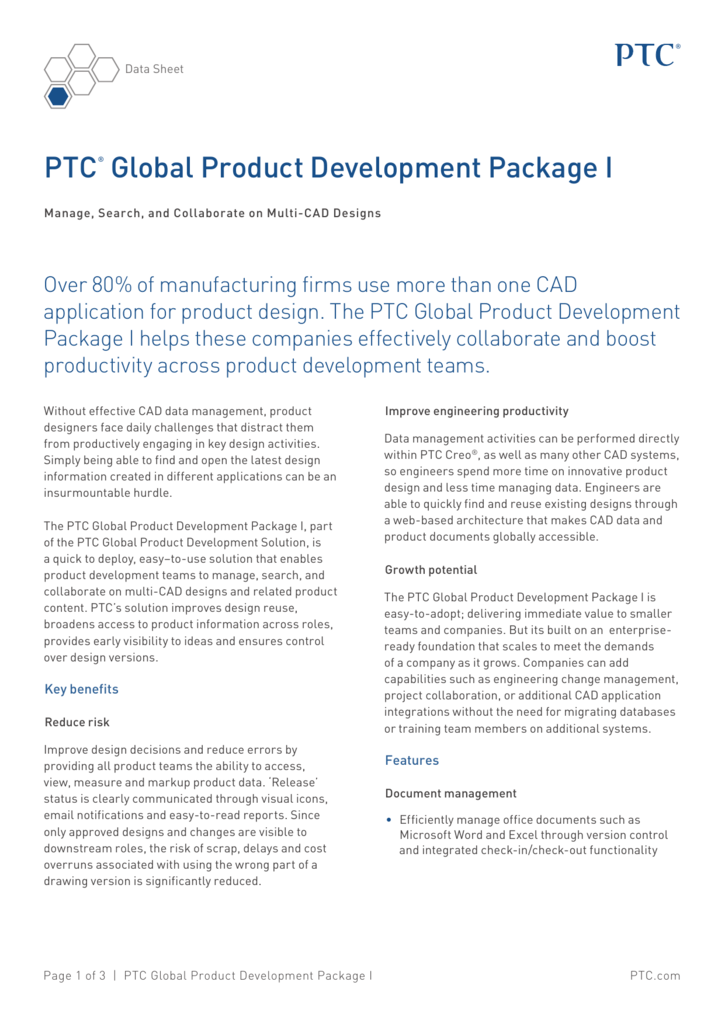 PTC® Global Product Development Package I