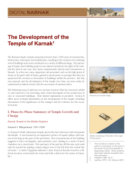 The Development of the Temple of Karnak1