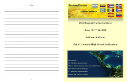 2015 Hispanic/Latino Summer Studies Institute
