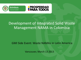 Development of Integrated Solid Waste Management NAMA in