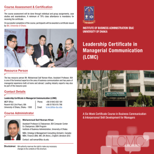 Leadership Certificate in Managerial Communication (LCMC)