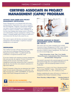 certified associate in project management (capm)® program