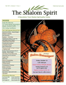 Summer/Fall 2015 Shalom Spirit newsletter