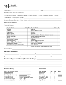 Patient History Form - Westside Physicians for Women