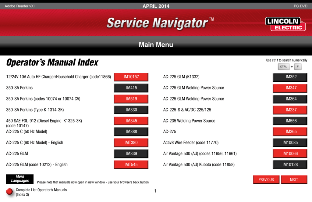 Operator's Manual Index
