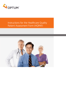 Instructions for the Healthcare Quality Patient Assessment Form