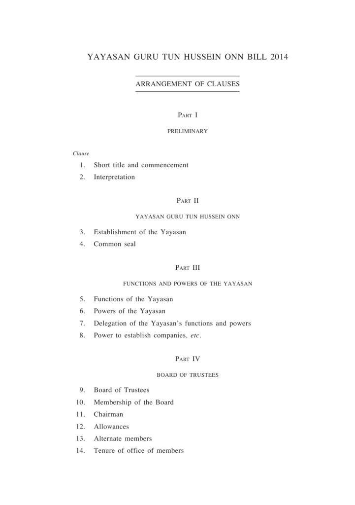 Yayasan Guru Tun Hussein Onn Bill 2014