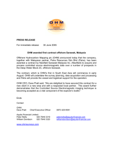 OHM awarded first contract offshore Sarawak, Malaysia