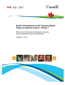 Audit of Compliance to the Treasury Board Policy on Internal Control