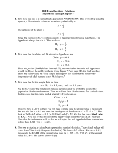 Old Exam Questions - Solutions Hypothesis Testing (Chapter 7) 1