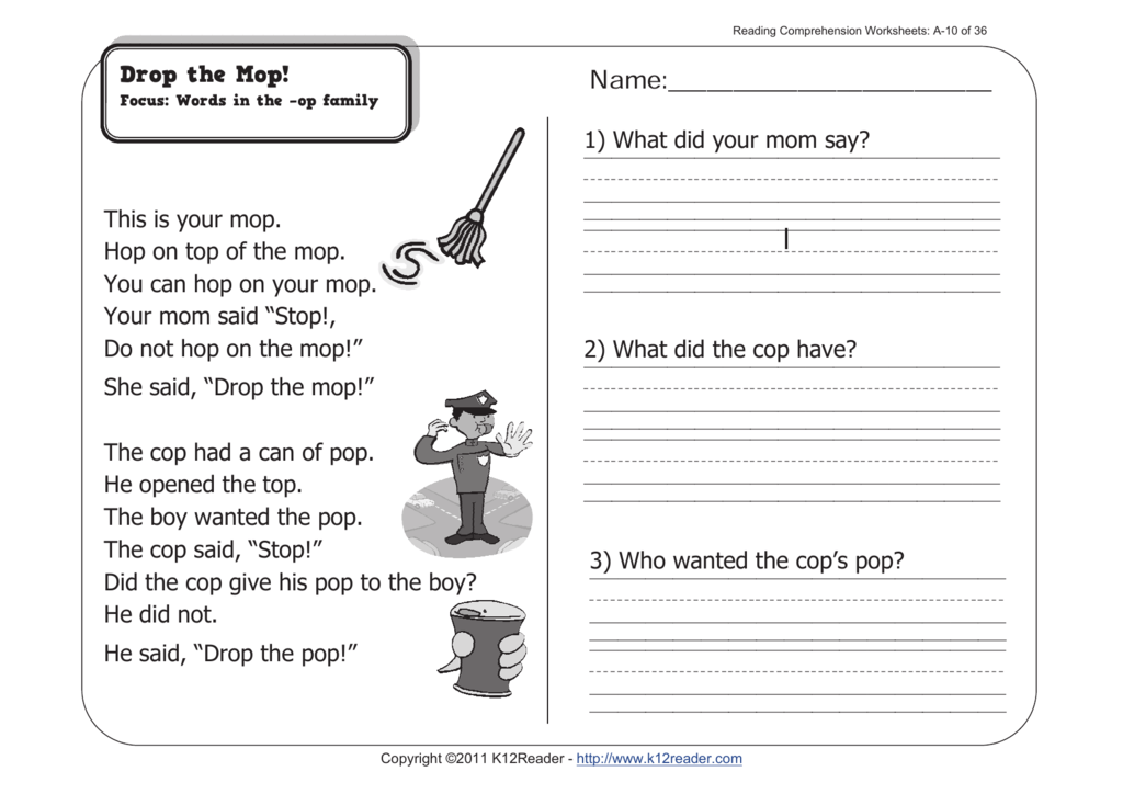 1st Grade Reading Prehension Worksheets