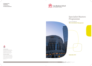 September 2011 Course handbook MSc in Investment Management