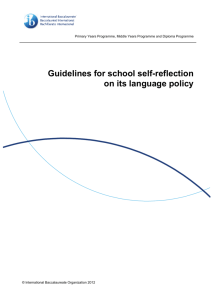Guidelines for school self-reflection on its language policy