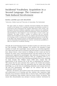 The Construct of Task-Induced Involvement.
