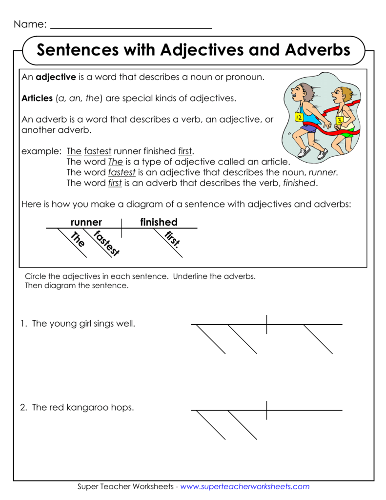 Diagramming Sentences with Adjectives and Adverbs – Diagramming Sentences Worksheets
