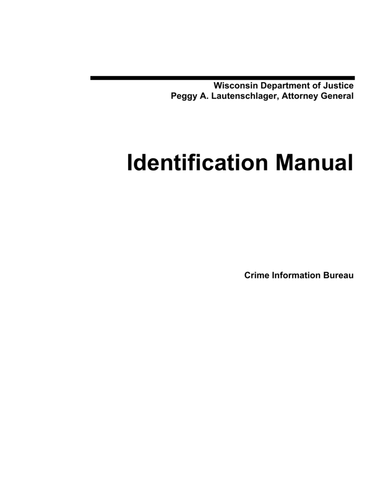 Wisconsin Department of Justice Identification Manual