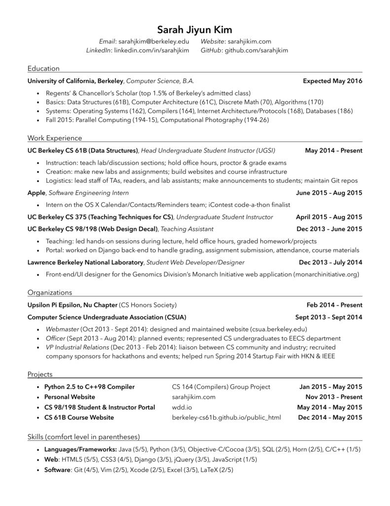 Resume - Sarah Kim