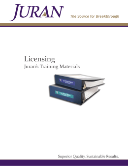Licensing Juran's Training Materials