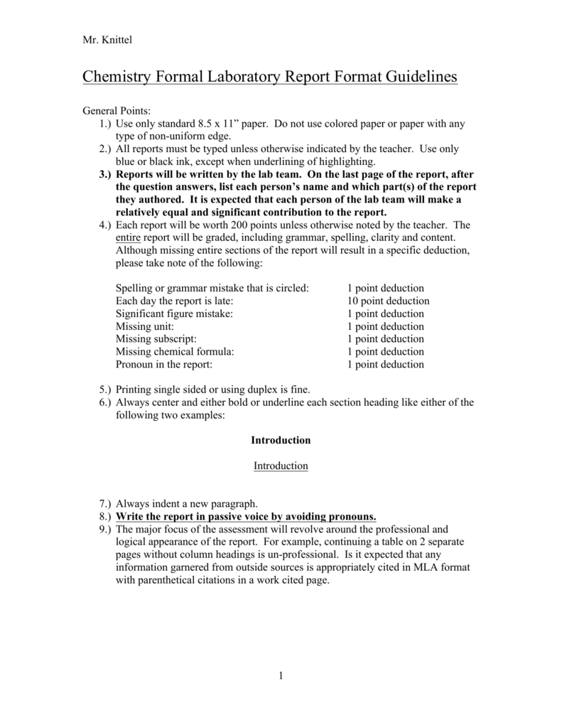 lab report format example mla