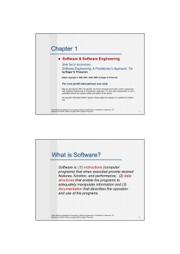 Chapter 1 What is Software? - Software Engineering @ RIT