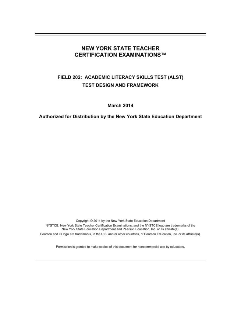 Test Design And Framework New York State Teacher Certification
