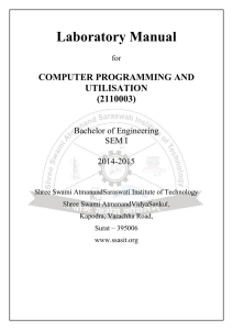 Computer Programming and Utilisation LAB Manual SSASIT, Sur