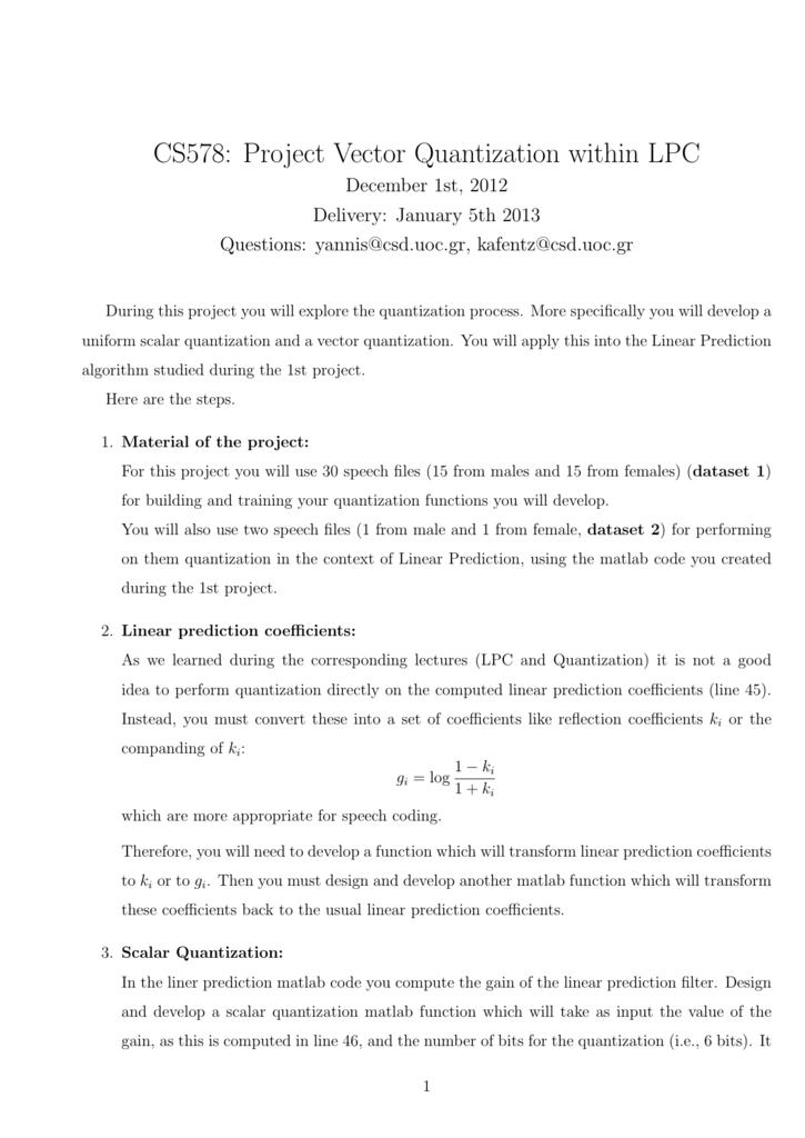 CS578: Project Vector Quantization within LPC