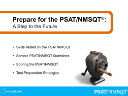CollegeBoard PPT Prepare for the 2013 PSAT NMSQT