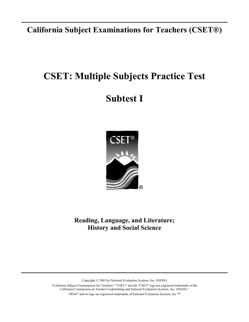 CSET: Multiple Subjects Practice Test Subtest I
