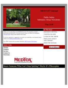 Public Safety Substance Abuse Journal by MEDTOX, May 2010