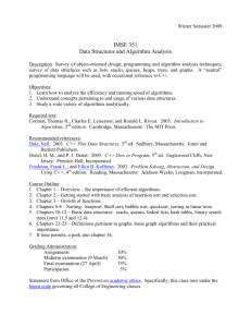 IMSE 351 Data Structures and Algorithm Analysis