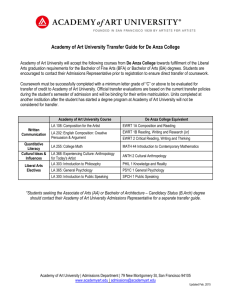Academy of Art University Transfer Guide for De Anza College