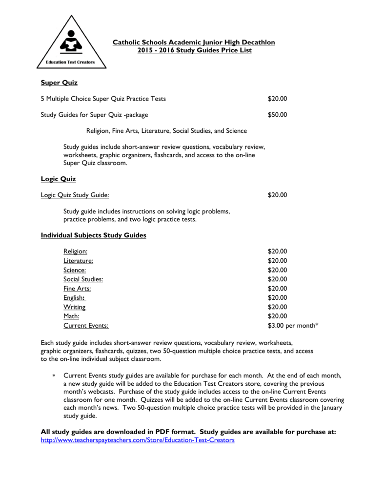 2015-2016 ETC Study Guides Price List