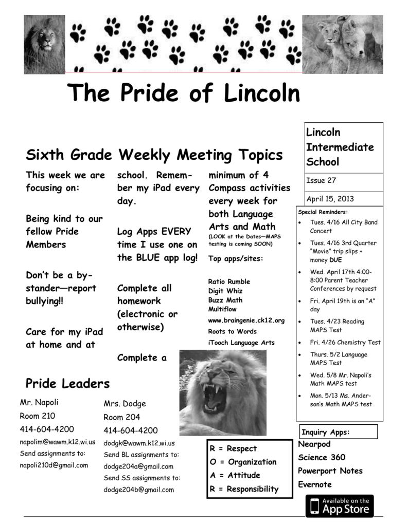 The Pride of Lincoln - Lincoln Intermediate School