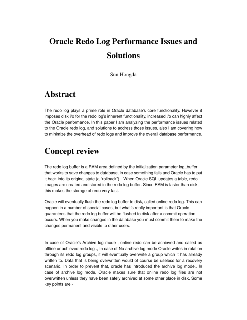 Oracle Redo Log Performance Issues and Solutions