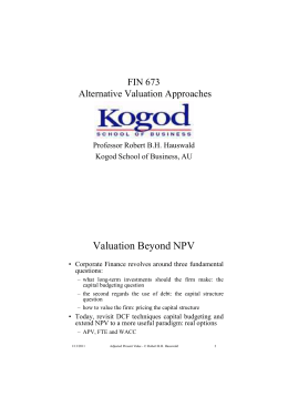 Valuation Beyond NPV
