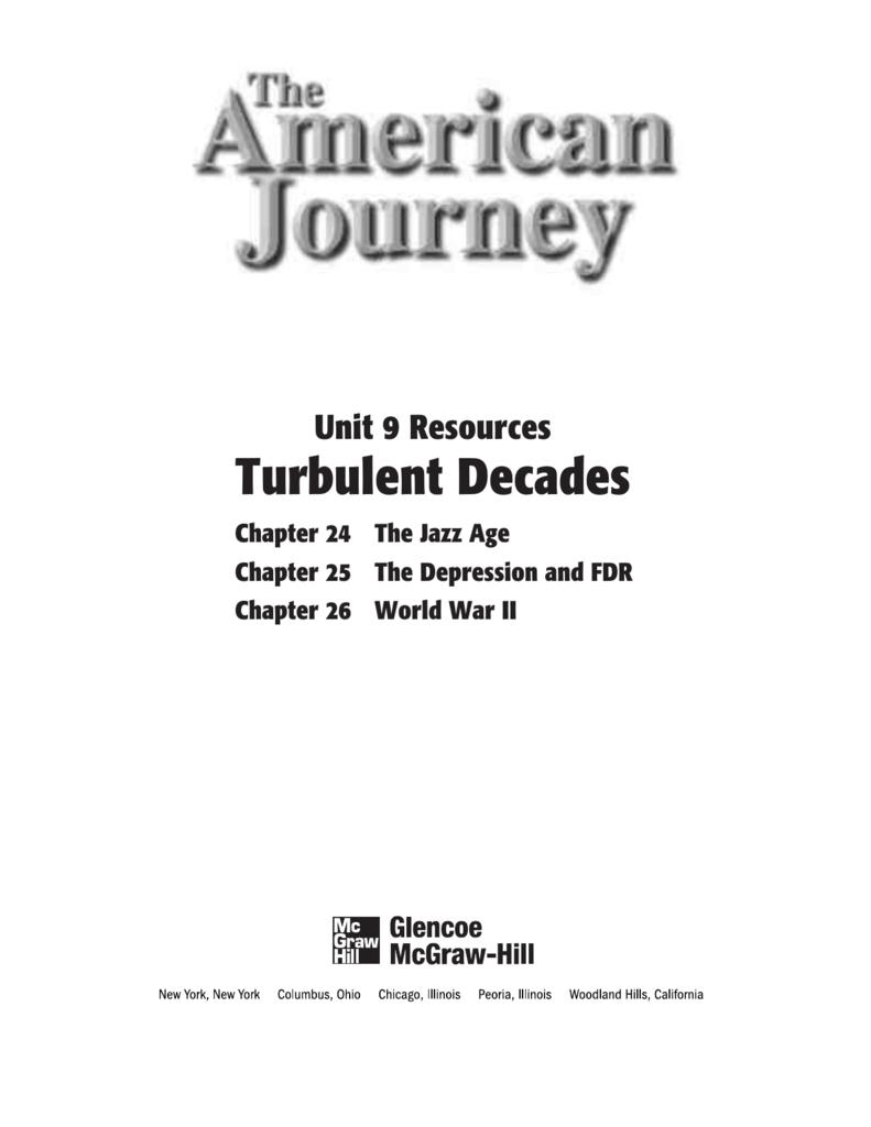 Unit 9 Resources: Turbulent Decades