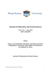 Journal of Education and Social Sciences