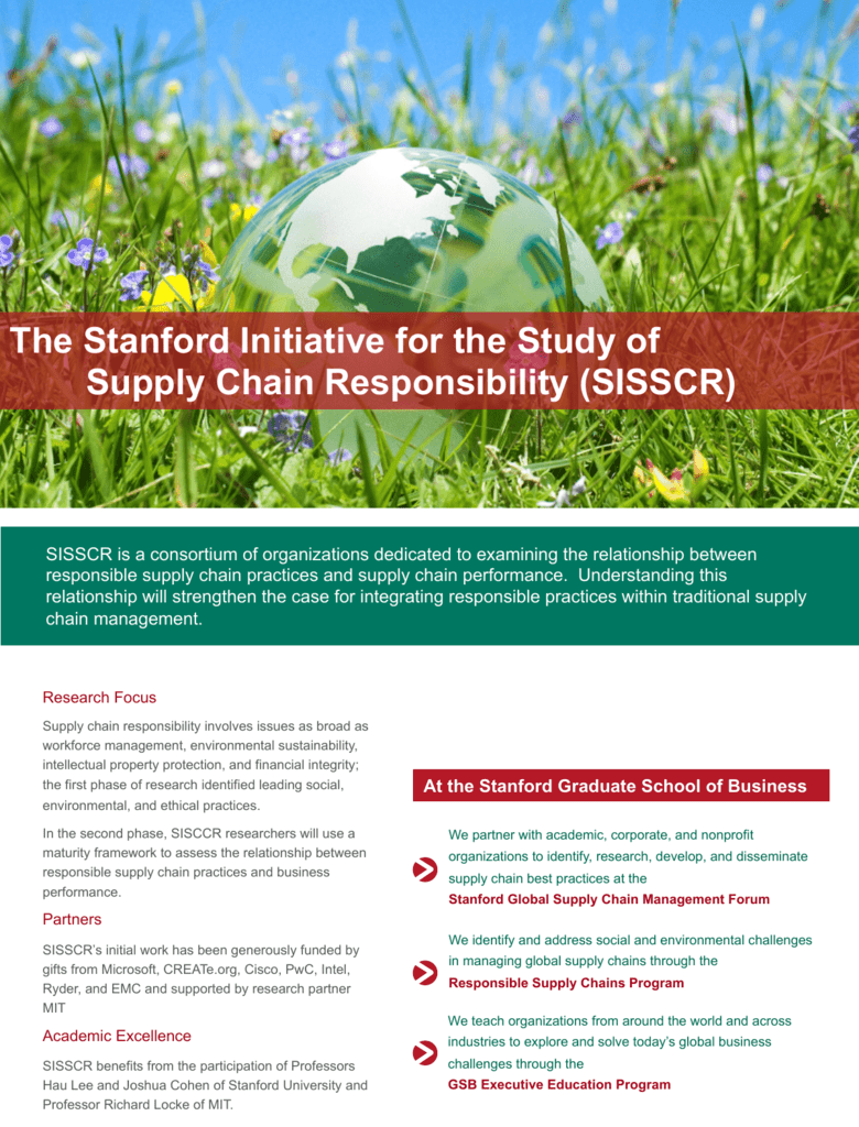 The Stanford Initiative for the Study of Supply Chain