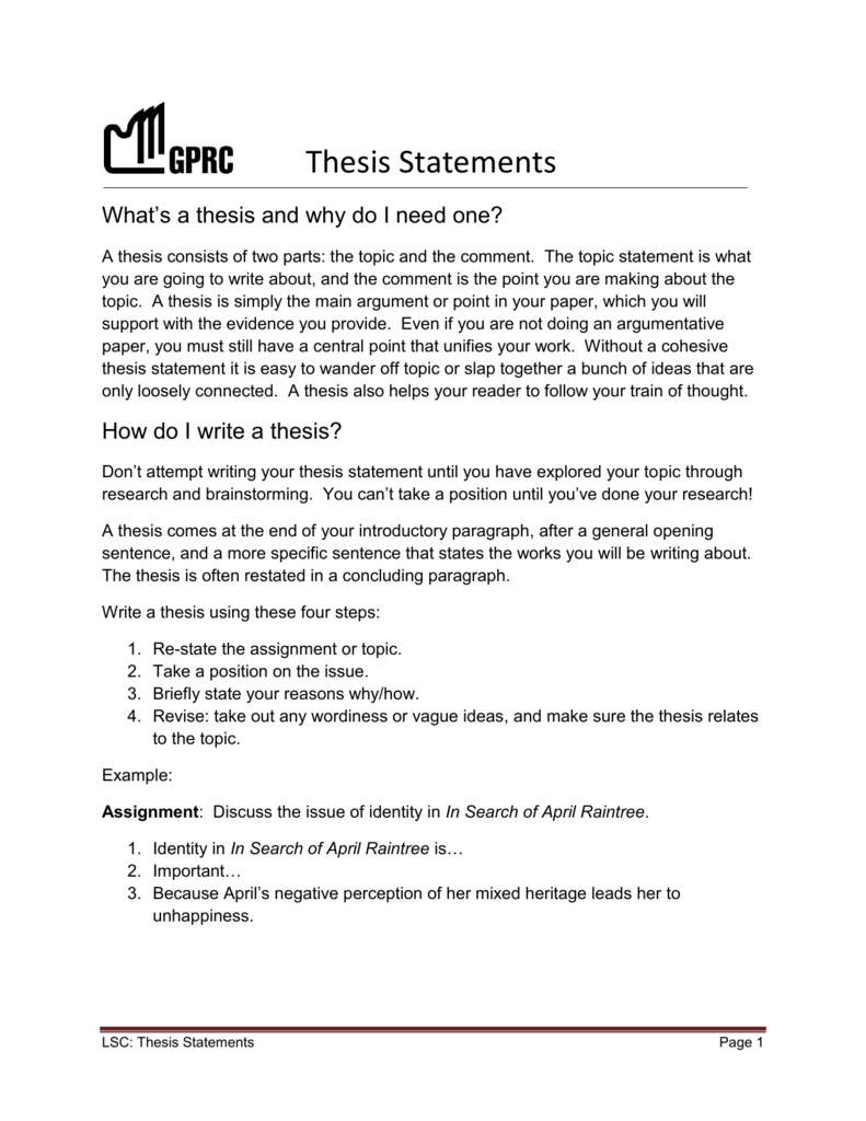identity thesis statement examples