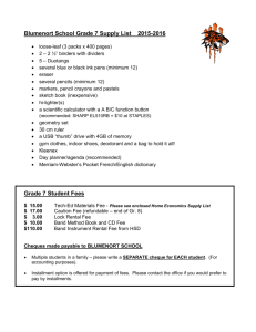 Blumenort School Grade 7 Supply List 2015