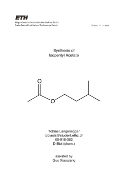 synthesis of isopentyl acetate In this lab the synthesis, purification, and characterization of isoamyl acetate, or banana oil, was determined the synthesis was completed by a reversible esterification reaction which required the heating of glacial acetic acid and isoamyl alcohol, combined with a sulfuric acid catalyst in hexane.
