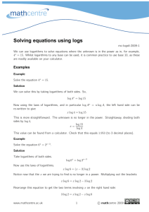 Solving equations using logs