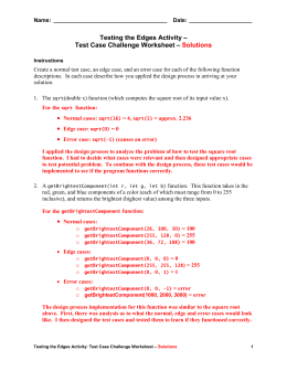 Test Case Challenge Worksheet